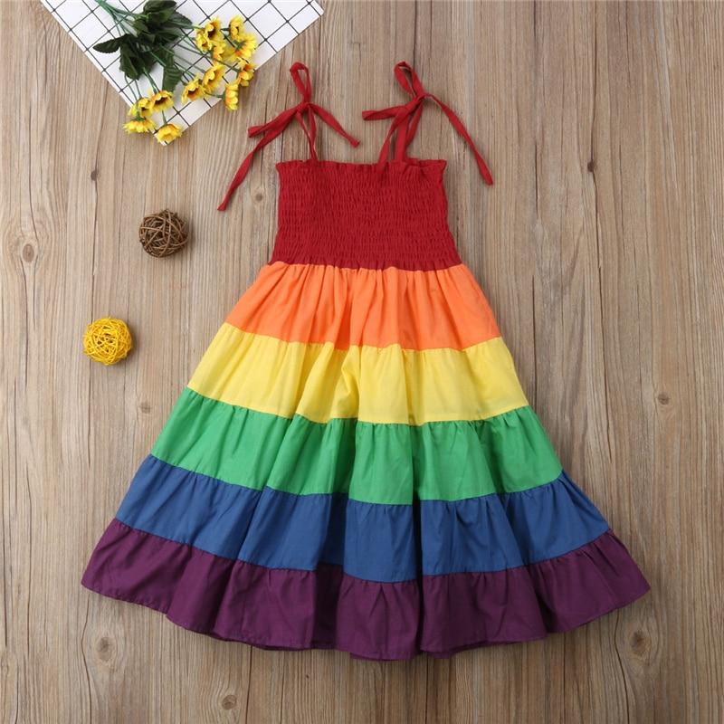 2-7 Anni Del Bambino Del Bambino Del Capretto Del Bambino Della Ragazza Arcobaleno Spettacolo Del Partito Della Principessa Dress Vestito Estivo Vestiti Colorati
