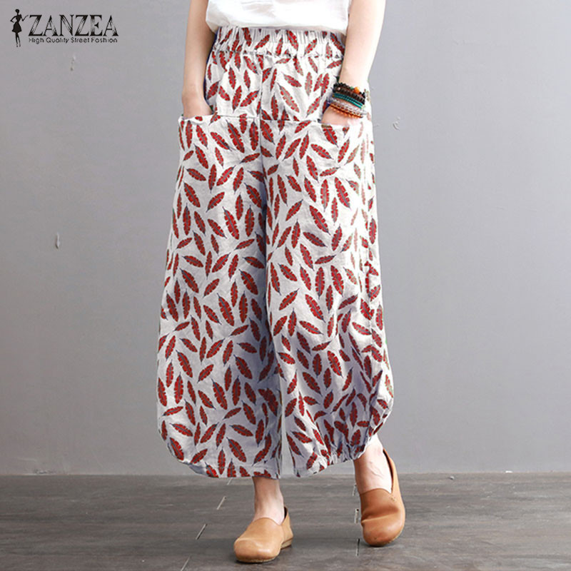 Plus Size Floral   Wide     Leg     Pants   Women's Casual Pantalon 2019 ZANZEA Elastic Waist Trousers Female Baggy   Pant   Long Pantalon S-5XL
