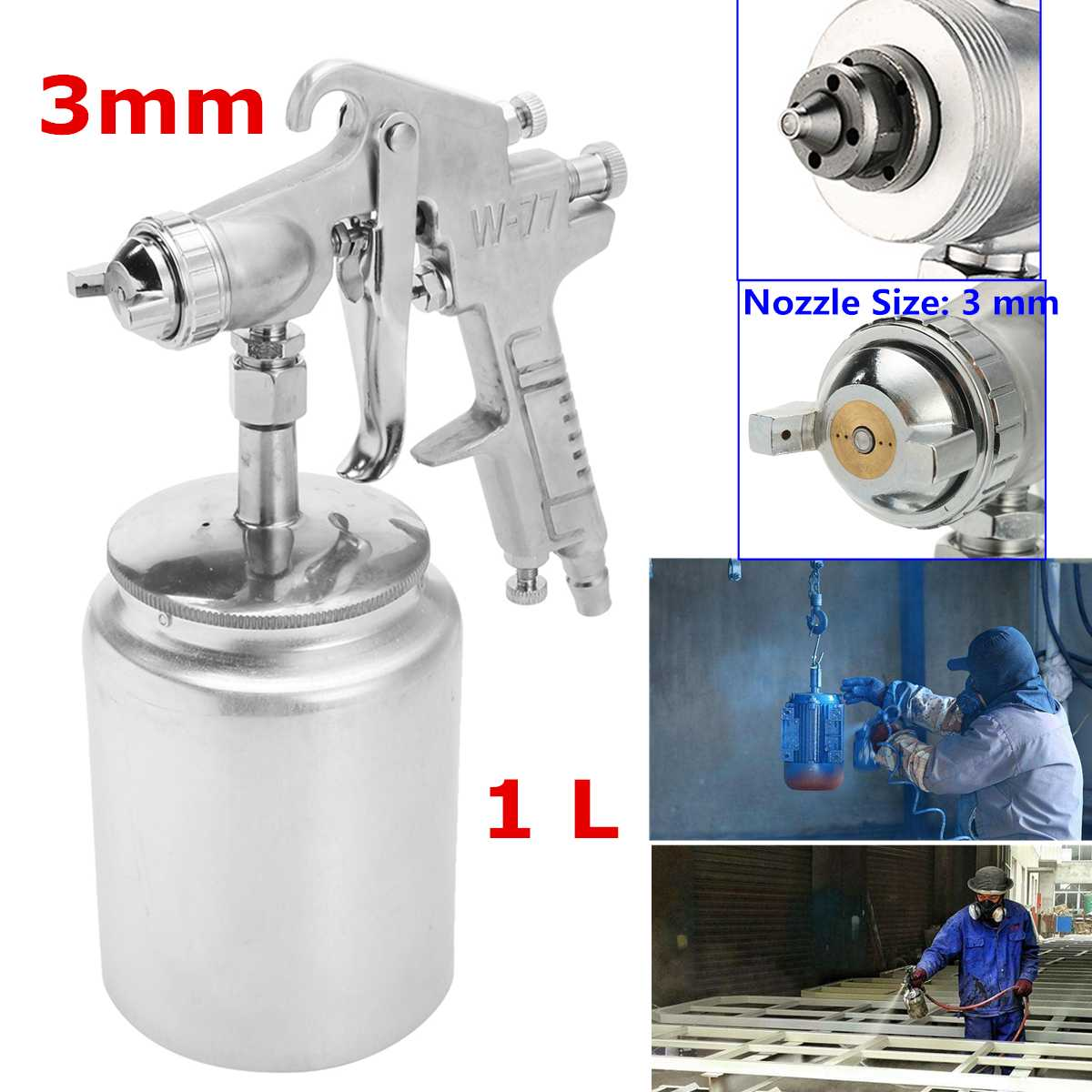 Heavy 3mm Painting Spray Gun/ Nozzle Suction Feed Paint Air Sprayer 1L Pot Handheld Electric Pressure Vacuum Spray Gun/Tool