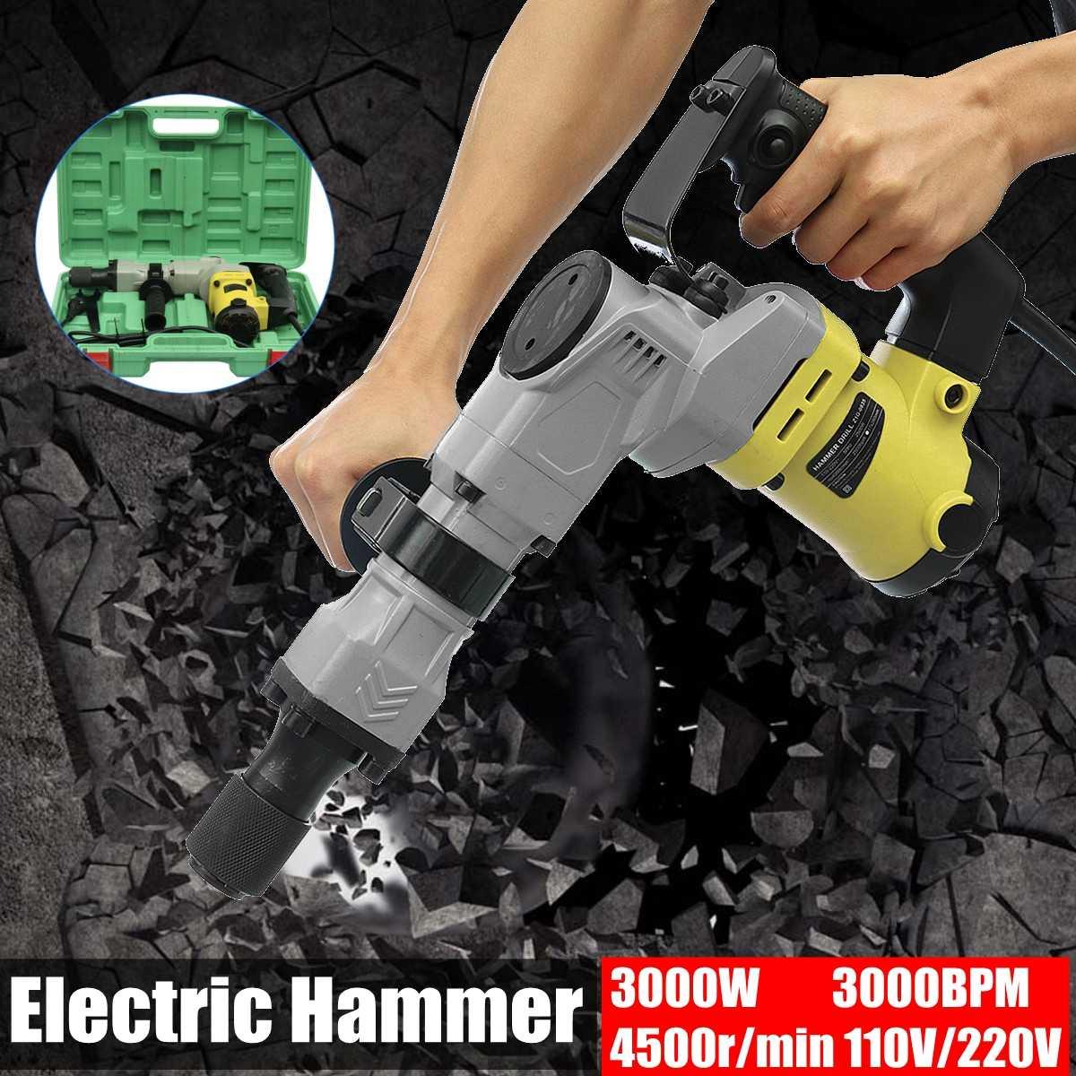 220V 3000W 3000BPM 4500R/Min Electric Hammer Demolition Hammers Jackhammer Concrete Breaker With Case220V 3000W 3000BPM 4500R/Min Electric Hammer Demolition Hammers Jackhammer Concrete Breaker With Case