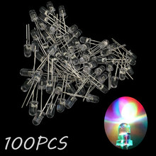 100 piezas LED diodo emisor de Urtal brillante flash 5MM redondo colorido Top DIY luz DIY sombrero de paja mucho RGB(China)