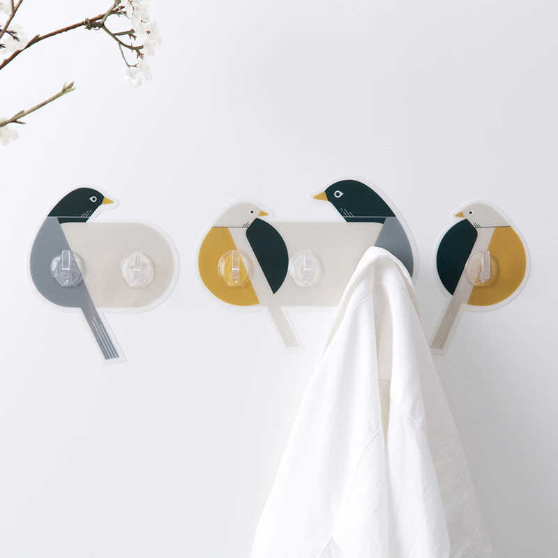 Crochet mural adhésif en PVC, 1, deux, trois crochets permettant de gagner de l'espace, oiseau, sans poinçon, décoration murale créative, colle de boue forte 1 pièce