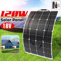 120W 18V Solar Panel Kit Monocrystalline Silicon Semi flexible Solar Cell DIY Module Outdoor W/ MC4 Connector Battery Charger