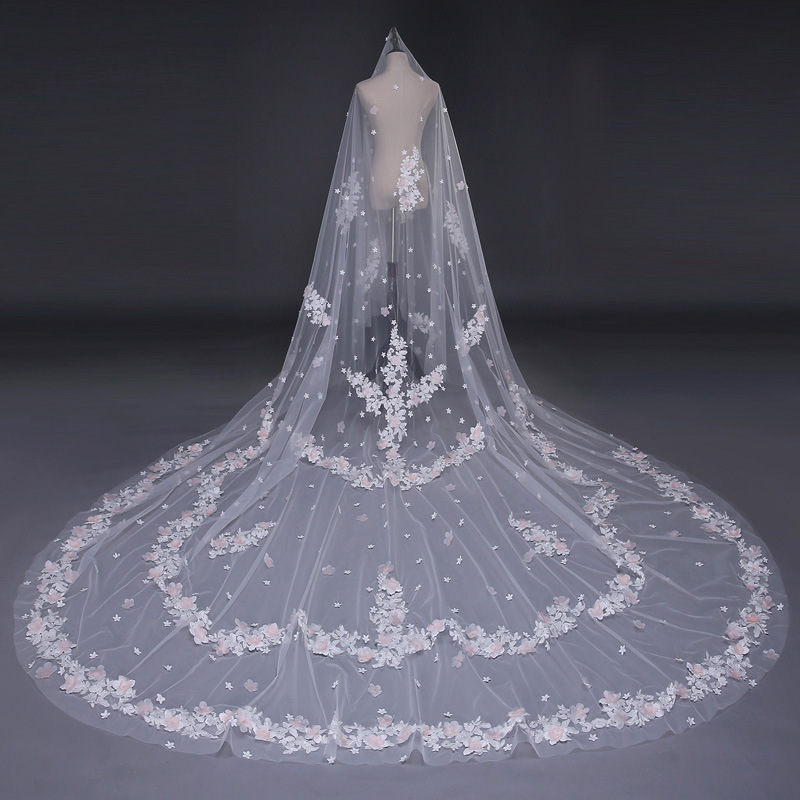 79f05ddf03 Embroidery Lace Applique Veil Wedding Accessories One Layer Ivory Long  Cathedral Bridal Veils Handmade