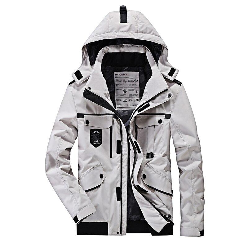 Chaquetas de invierno Hombre Negro Color blanco Con capucha Parka - Ropa de hombre