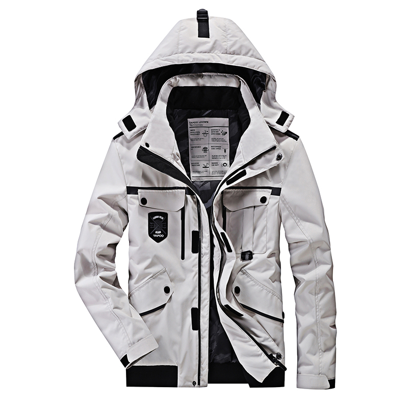 Winter Jackets Mens Black White Color Hooded   Parka   Men Over Coats Multi Pockets Thick Windbreaker Loose XXXXXL Plus Size M-4XL