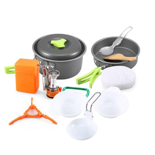 11 pcs Camping Conjunto Panelas Pot Pan Tigela Colher com Mini Mosquetão Talheres Utensílios de Cozinha para a Mochila de Piquenique Ao Ar Livre Fogão A Gás
