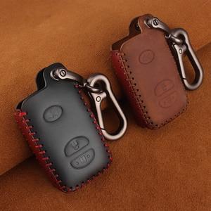 Image 1 - KEYYOU For Toyota Prius Land Cruiser Avalon Prado Leather Car Key Keychain Covers Key Case Bag KeyChain Bag 2/3/4 Buttons