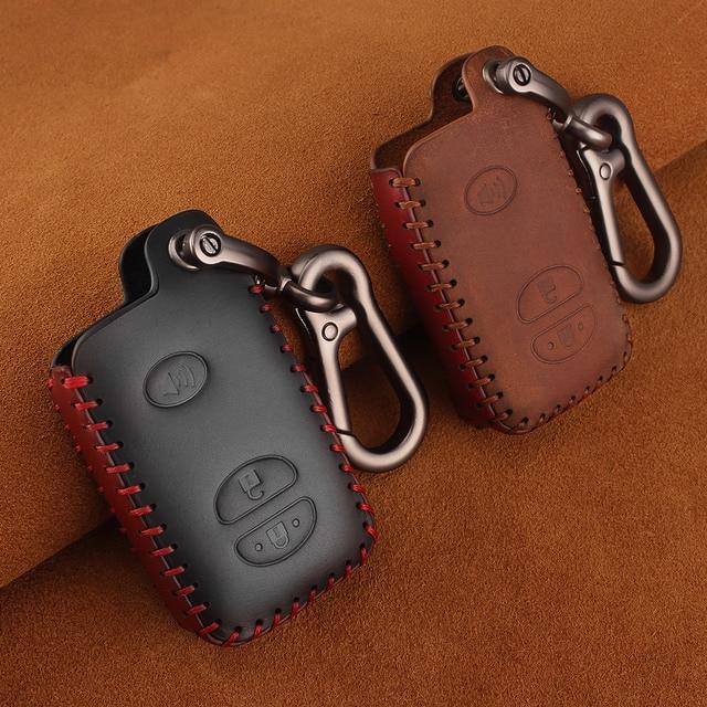 KEYYOU For Toyota Prius Land Cruiser Avalon Prado Leather Car Key Keychain Covers Key Case Bag KeyChain Bag 2/3/4 Buttons