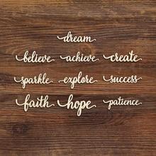 Dream Success Create Hope Faith Script Wood Sign Wooden Laser Cut Art Office Desk Wall Decoration