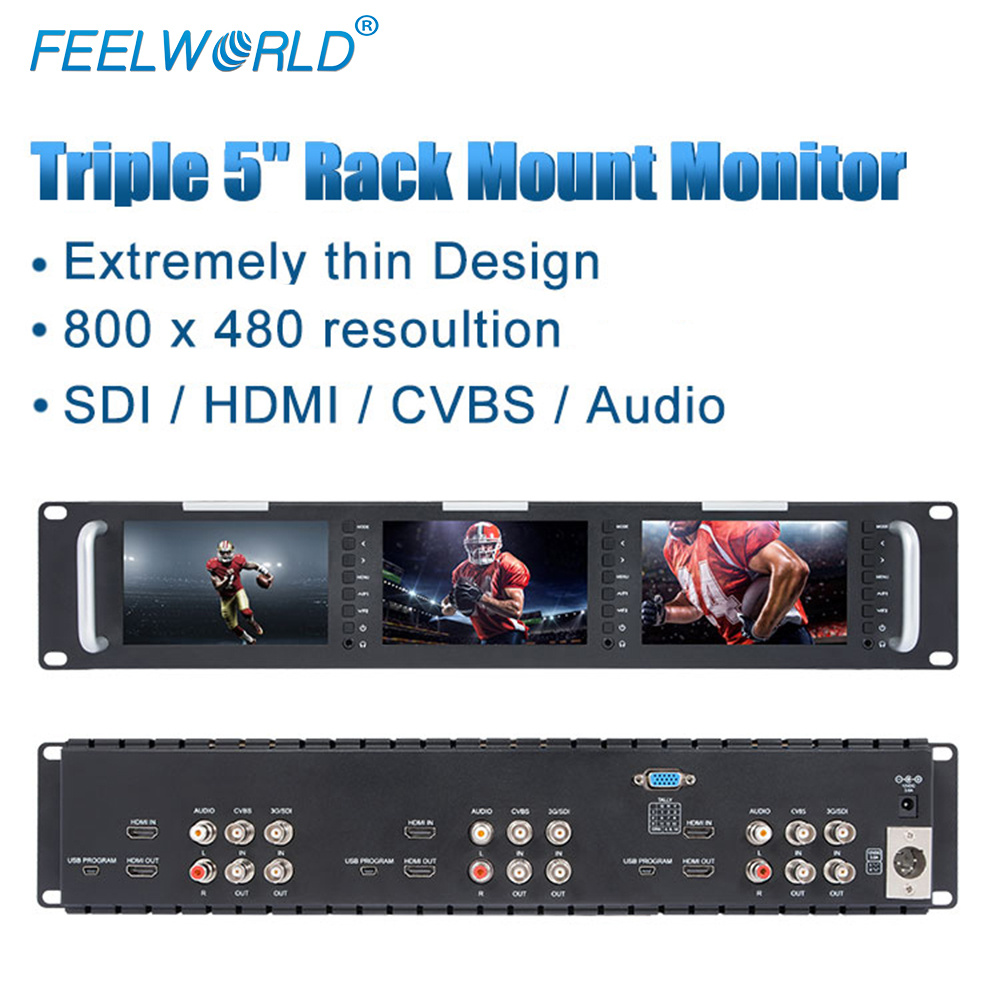 Feelworld T51 Triple 5 inch 2RU Broadcast SDI Rack Mount Monitor Field Video LCD Screen 800x400 3G SDI HDMI AV Input and Output feelworld d71 dual 7 inch 3ru ips 1280 x 800 3g sdi hdmi lcd rack mount monitor portable 2 screens broadcast monitor