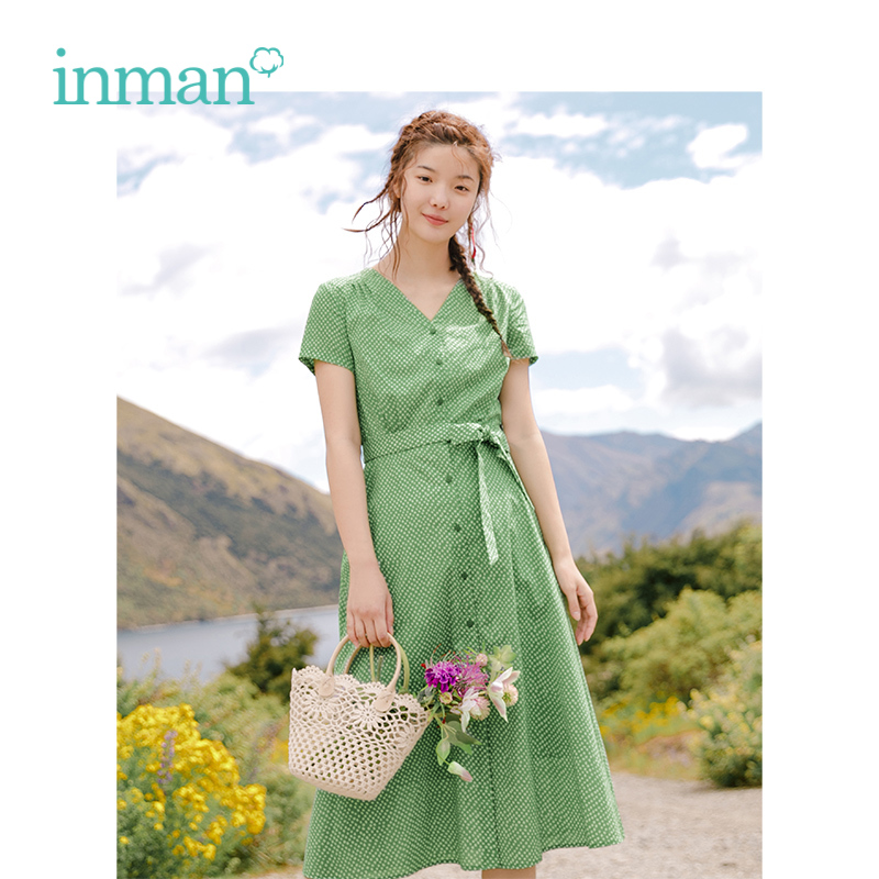 INMAN Summer Cotton V-neck Slim Frenulum A-line Retro Literary Wave Point Women Dress