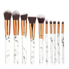 10 Marbled Makeup Brush Set Beauty Tools Eyeshadow Facial For