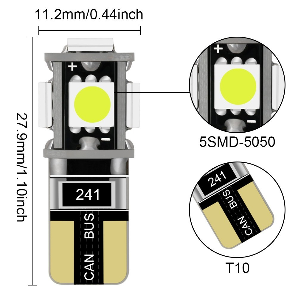 1 Piece T10 W5w Led Bulb 5Smd Led White 194 Super Bright Wedge Lights Bulbs Lamps 12v 5050 License Light Bulbs in Signal Lamp from Automobiles Motorcycles