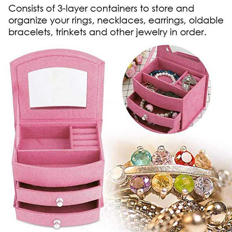 Jewellery Box Organizer Display, 3 Layers Portable Jewelry Earrings Rings Bracelet Necklace Box Organizer Storage With Mirror