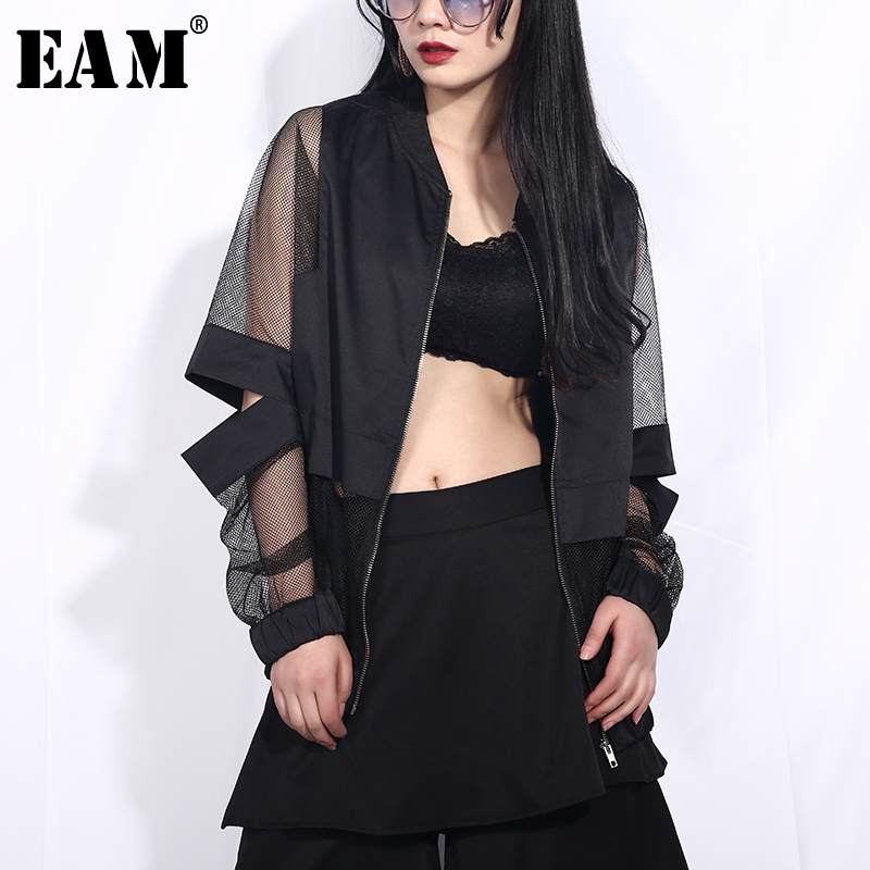 [EAM] 2020 New Spring Autumn Stand Collar Long Sleeve Black Hollow Out Perspective Loose Jacket Women Coat Fashion Tide JF73