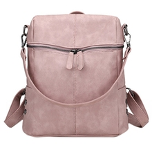 Simple Style Backpack Lady Teenage Girl Bag Fashion Retro Solid Color Single Shoulder Pink