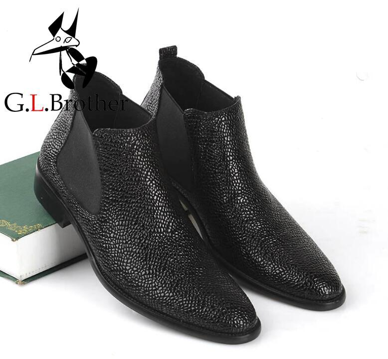 Genuine Leather Men's Boots Slip On Pointed Toes High Top Casual Shoes Elastic Band Black Dress Med Heel Black Ankle Boots black leather look skater skirt with elastic band