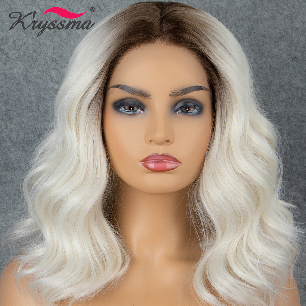 Kryssma Synthetic Lace Front Wig Short Wavy White Ombre Dark Roots Wigs For Women Hair Heat