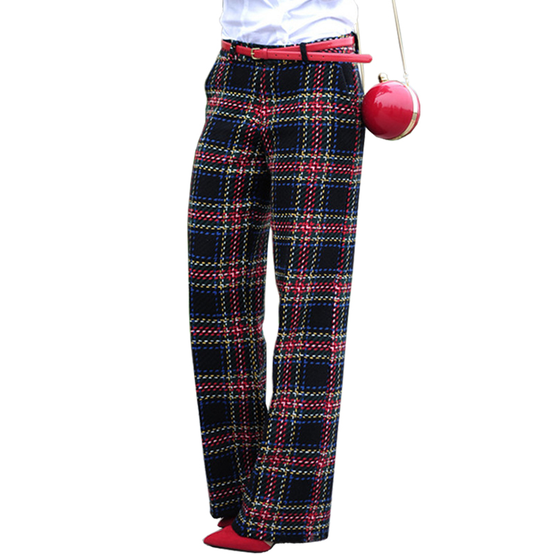 AEL Women Broad Leg Casual Cotton Plaid Pants Loose High Waist Long Trousers Ladies Small Plaids Simple Style Femme Pants-in Pants & Capris from Women's Clothing    1