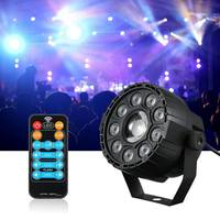 CLAITE 15W RGB UV Mini 9+1 LED Stage Light Remote Control Sound activated Par Lamp for Christmas AC90 240V