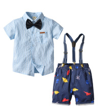VTOM Summer Toddler Baby Boys Clothing Sets Short Sleeve Bow Tie Shirt+Suspenders Shorts Pants Formal Gentleman Suits