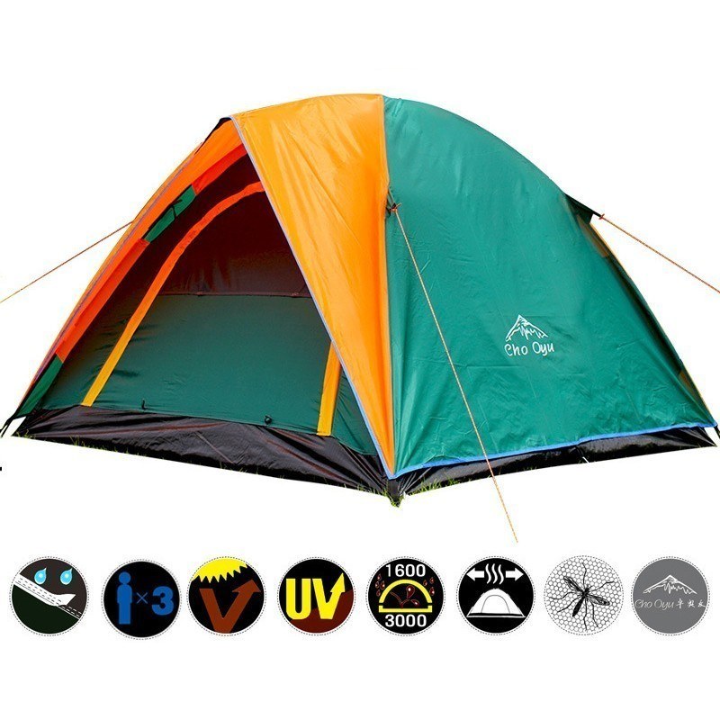3 4 Person Double Layer Camping Tent With Double Door Outdoor Waterproof Awning Tent 200x180x140cm for