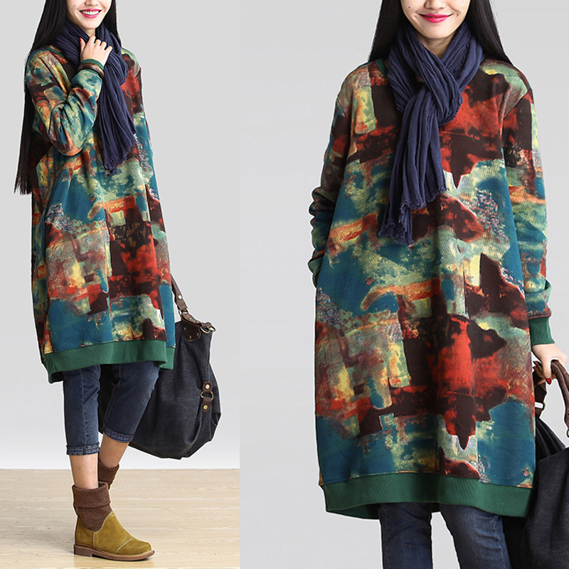 Celmia Vintage Winter Dress Women Long Sleeve Printed Vestido Female Autumn Casual Sweatshirt Dress Plus Size Pullover Vestidos(China)