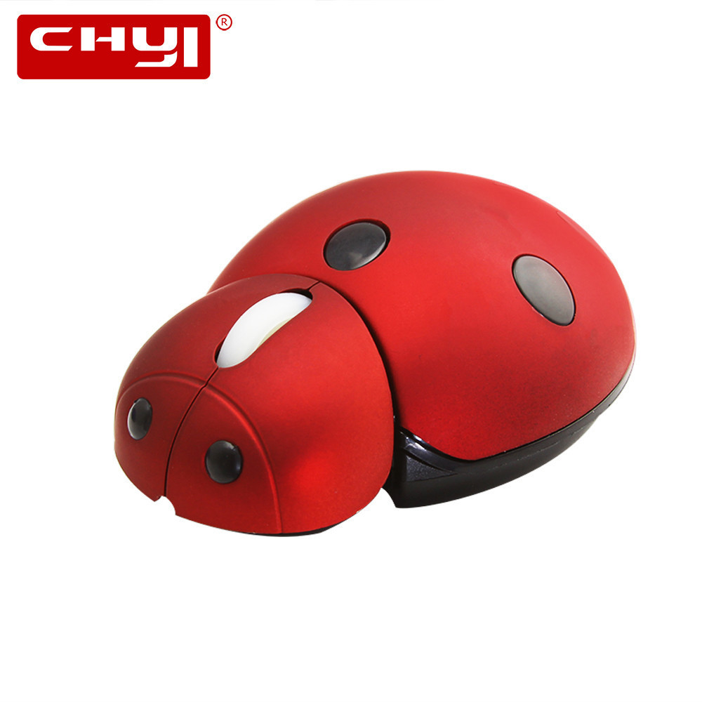 CHYI 2.4Ghz Wireless Mouse Cute Cartoon Ladybug USB 3000 DPI Laser Mini 3D Mice Computer Small Hand Mause For Kids Laptop PC
