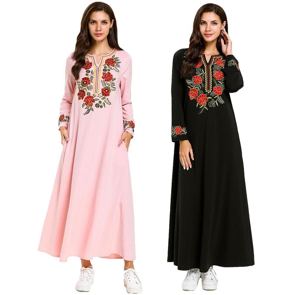 Women Long Sleeve Ethnic Flower Shirt Dress Turkish Robe Abaya Long Blouse Tops