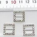 10 unids/lote 16mm cuadrados de plata hebillas de diamantes de imitación de metal diamante diy accesorio para el pelo de la boda decorativa cinta deducción
