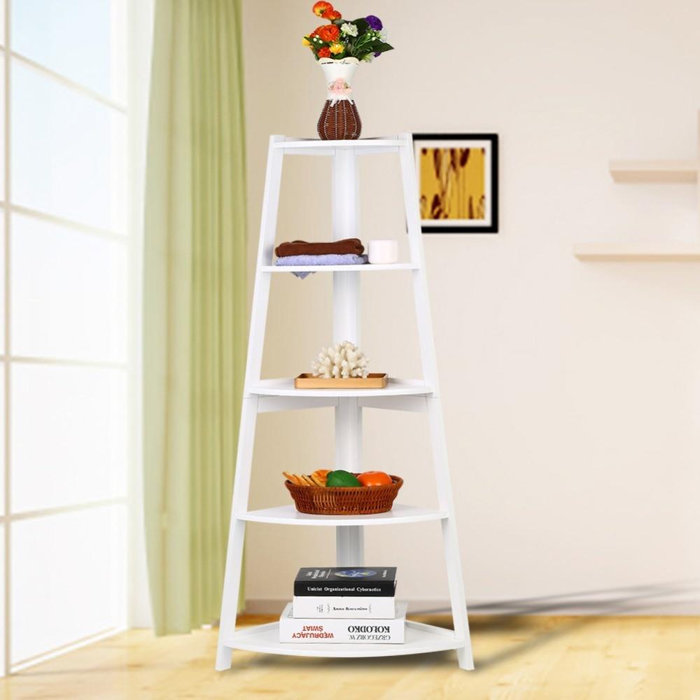Giantex 5 Tier Corner Ladder Shelf Floor Stand Shelves ... |Corner Ladder Bookshelf