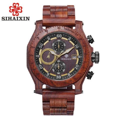 SIHAIXIN New Men Wooden Watch Waterproof Handmade Man Wood Wristwatches Quartz Movement Date Sport Male Clock erkek kol saati Pakistan