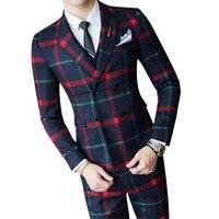 Мужской винтажный костюм в клеточку, костюм для свадебного банкета, облегающий двубортный костюм с жилетом и штанами, 2019
