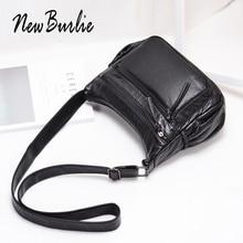 New Burlie ladies casual Hobos Women Messenger Bags Crossbody Soft washed PU Leather Shoulder Bag Fashion Female leather Handbag