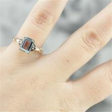 Sea Blue Topa Stone Sapphire Ring for Girl Retro Princess Diamond Sliver S925 Bague or Jaune Rings Anillos De Bizuteria NoEnName