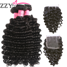 .ZZY Fashion Hair Brazilian Deep Wave 3 Bundles With Lace Closure Non Remy Human Hair Extensions Natural Color