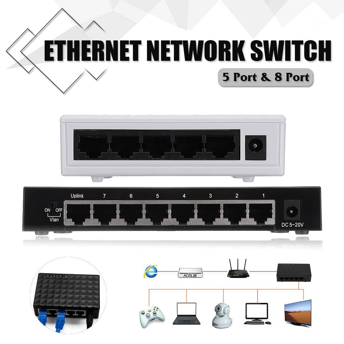 5-Ports/8-Ports Network Switch 10/100Mbps Gigabit Ethernet Network Switch Internet Hub For TV Computer Games Video