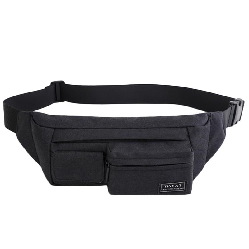 Tinyat Belt Bag Men Women Waist Bag Pack Travel Phone Belt Pouch Multifunctional Fanny Bag Pack Pockets Canvas Casual Hip Bag