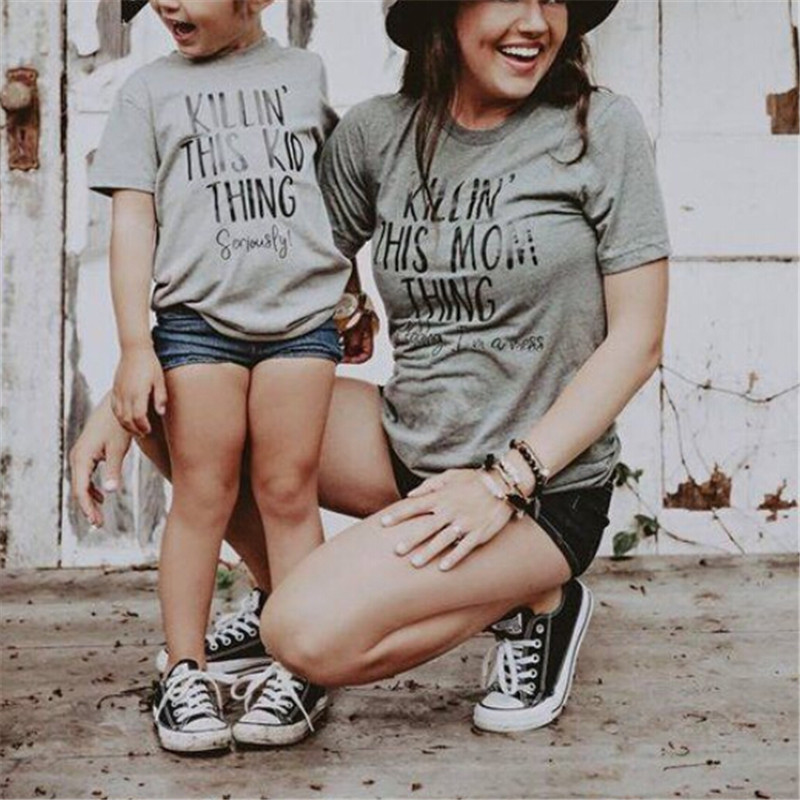 2019 Family Clothing Mother Parent-Child Daughter Son T-shirt Matching Outfit