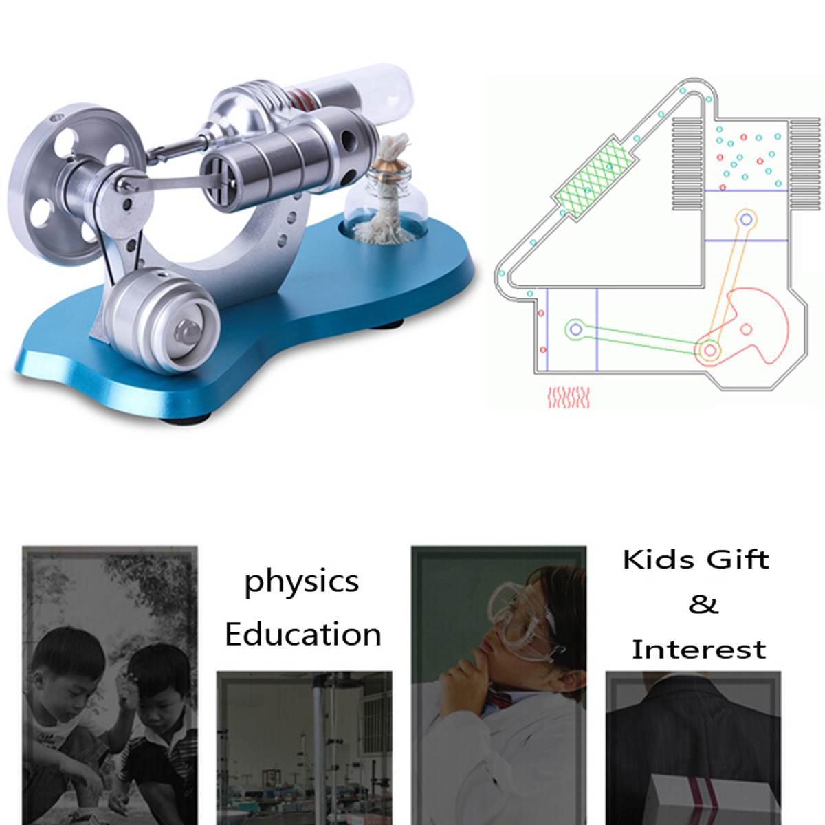 Model Building Kits Mini Single Cylinder Double Action Swing Steam Engine Model Toy Creative Gift For Engine Power On Ship Model For Kid
