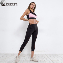 Fitness Sport Suit Female Two Piece Set Top And Pants Mesh See Trough Workout 2 Active Outfits Track Bra+leggings