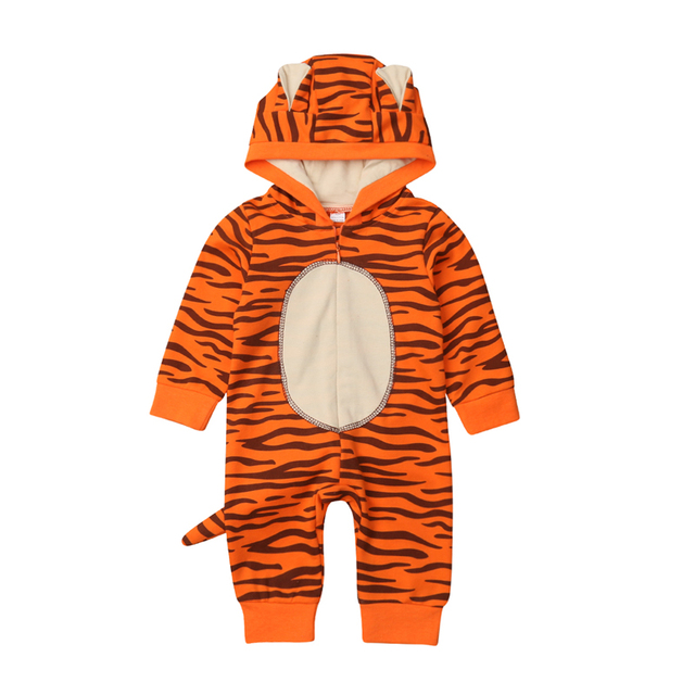 9772e30c254f5 US $7.69  Cute Newborn Baby Boy Girl Tiger Romper Jumpsuit Playsuit Long  Sleeve Zipper Rompers Toddler Baby Boys Outfits Clothes-in Rompers from ...