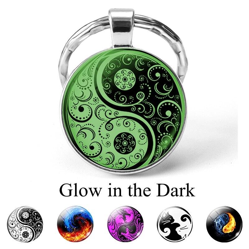 Yin Yang Luminous Cabochon Jewelry Yin Yang Flower Cat Dragon Keychains Key Rings Glow In The Dark Jewelry Pendant