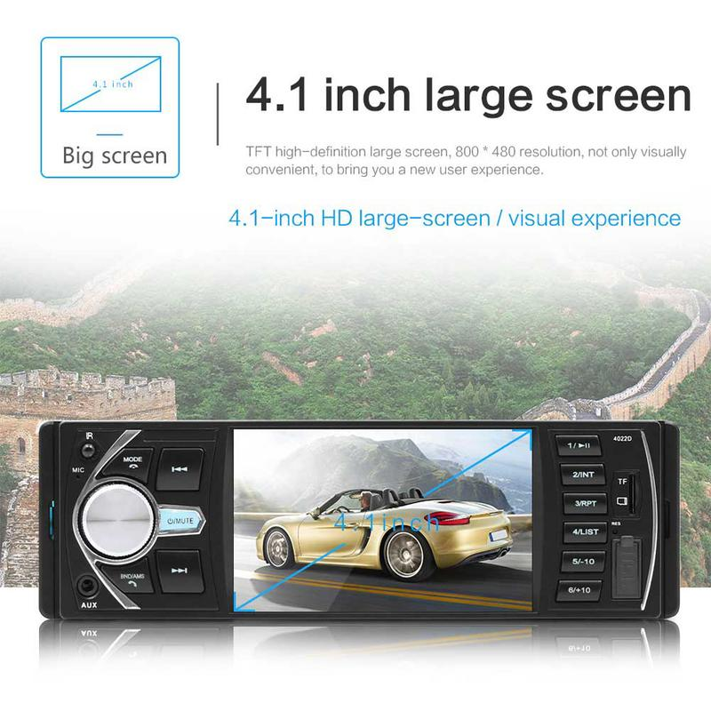 4.1 Inch Double 1 DIN Car MP5 MP3 Player Bluetooth Touch Screen Stereo Radio Camera Auto Radio Music Play image