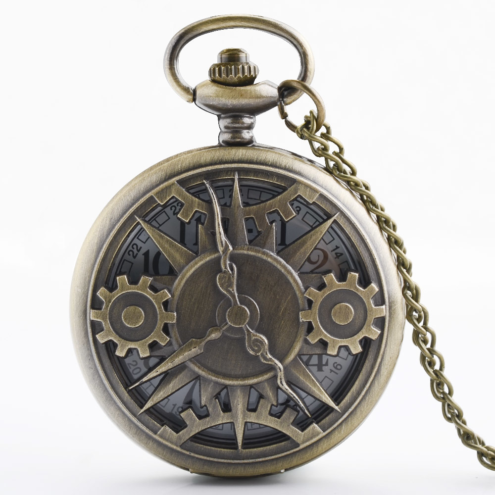 IBEINA Retro Steampunk Pocket Watch Full Hunter Quartz Engraved Fob Retro Pendant Pocket Watch Chain Gift Watch Men