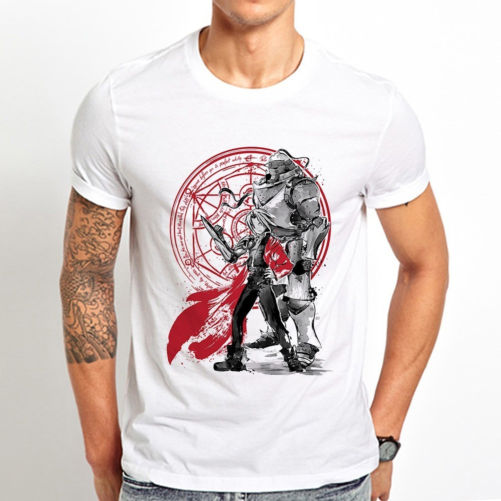 Japan anime Fullmetal Alchemist Brothers funny t shirt men 2019 summer new white casual homme cool vintage tshirt