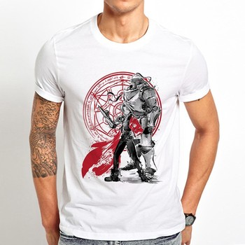 Japan anime Fullmetal Alchemist Brothers funny t shirt men 2019 summer new white casual homme cool vintage tshirt - discount item  51% OFF Tops & Tees