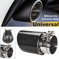 Universal 80mm In 101mm Out Glossy Black Carbon Fiber Car Exhaust Tail Rear Tip Pipe Muffler