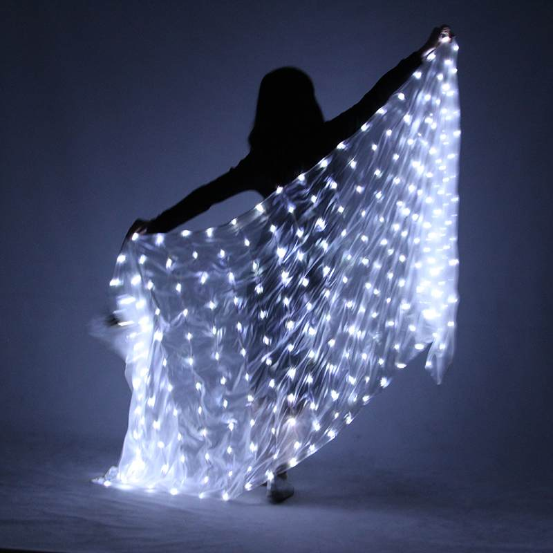 217x109cm Belly Dance Led Scarf Veil Silk Polyester White Rainbow Belly Dance Veil Stage Performance Props For Halloween Party Smoothing Circulation And Stopping Pains Stage & Dance Wear